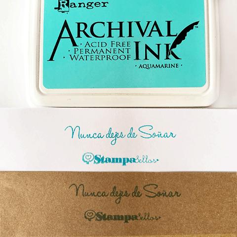 Almohadilla entintada Turquesa Claro papel, madera y tela