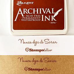 Almohadilla entintada Sepia (café) papel, madera y tela