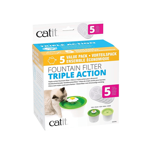 filtro catit fuente triple accion 5 unidades