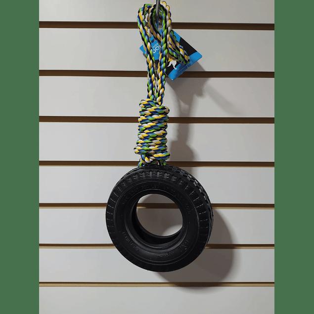 Juguete con cuerda de algodón y aro de caucho