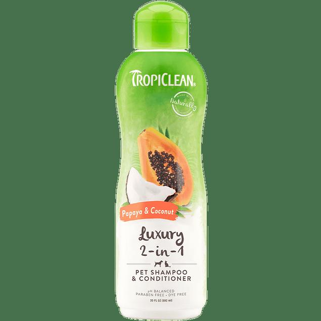 Shampoo Tropiclean 2 en 1 Luxury Papaya & Coco  592ML