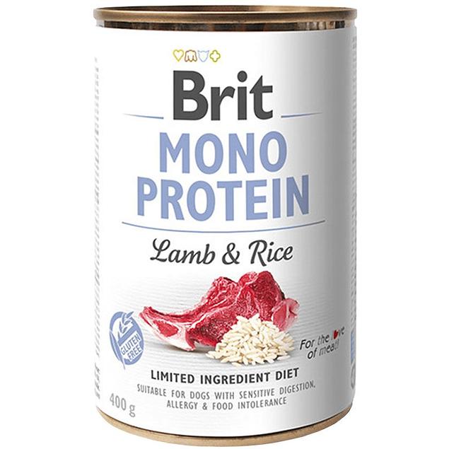Lata Brit Care Mono Protein Cordero y Arroz 400g para perro