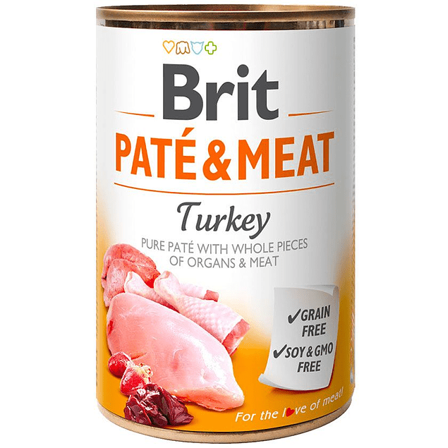 Lata Brit Care Paté y Meat Pavo 400g para perro