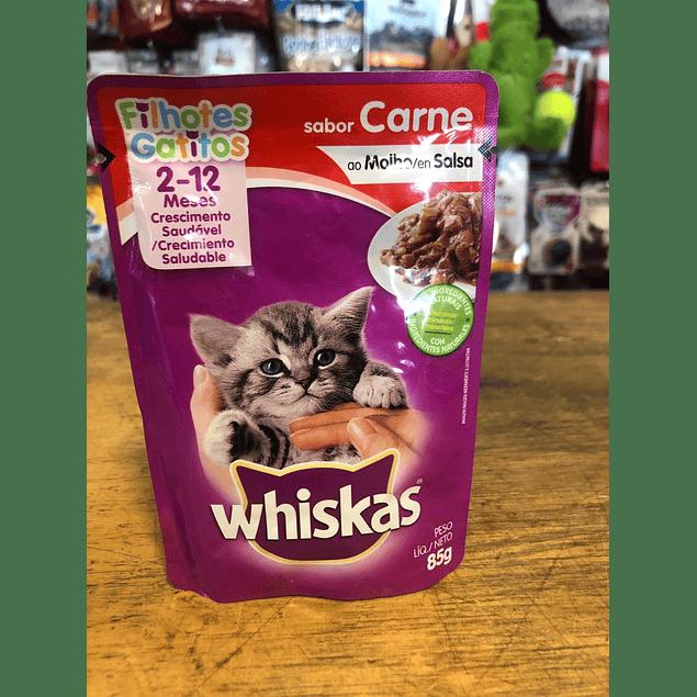 alimento humedo para gato cachorro whiskas   85gr carne.