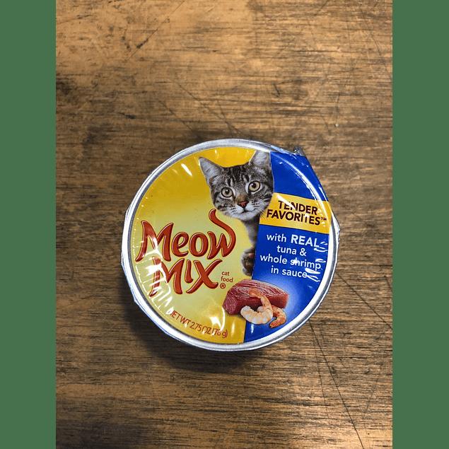 Alimento húmedo para gato Meow Mix atún camarón trozos 78GR.