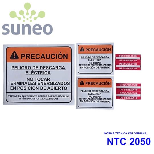 Kit de adhesivos para señalización y marcado de sistemas fotovoltaicos de inyección a red