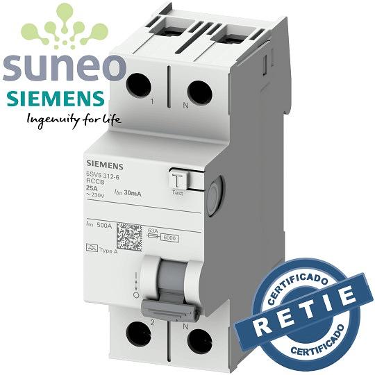 Interruptor diferencial Siemens 2 polos 25A/40A/63A,  30ma