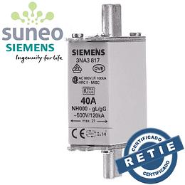 Fusible 40/80/100/125/160A Siemens, Categoría gG, 500VAC/250VDC Protección Baterías