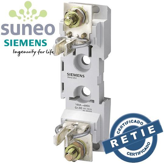 Base portafusible Siemens para riel DIN NH00 160A 690VAC/440VDC