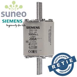 Fusible 200A Siemens, Categoría gG, 500VAC/400VDC Protección Baterías