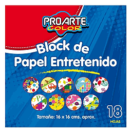 BLOCK DE PAPEL ENTRETENIDO PROARTE 18 HOJAS