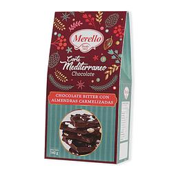 BOLSA CHOCOLATE CORTE MEDITERRANEO CON ALMENDRAS MERELLO 140 G