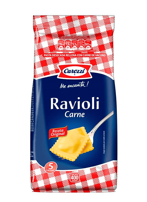 FIDEOS RAVIOLI CARNE CAROZZI 400 G