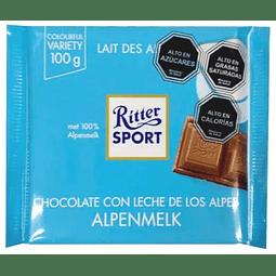 BARRA DE CHOCOLATE CON LECHE DE LOS ANDES RITTER SPORT 100 G