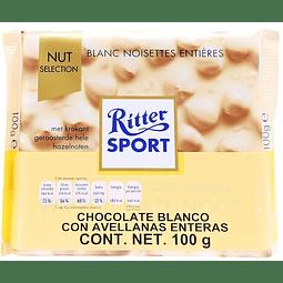 BARRA DE CHOCOLATE BLANCO CON AVELLANAS ENTERAS RITTER SPORT 100 G