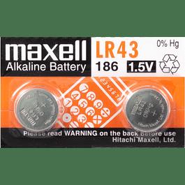 PACK 2 UN PILAS ALCALINAS LR43   (186) 1,5V MAXELL