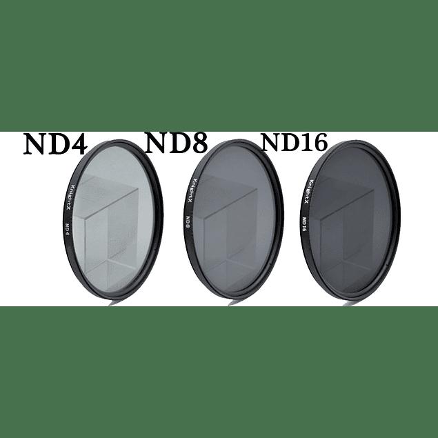 KIT 3 FILTROS DENSIDAD NEUTRA  DIAM. 49mm (ND4, ND8,ND16)