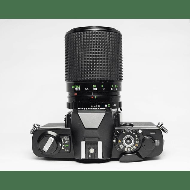 CÁMARA REFLEX ANÁLOGA MINOLTA XG-S + LENTE ZOOM SEARS 70-210mm F4.0-5.6