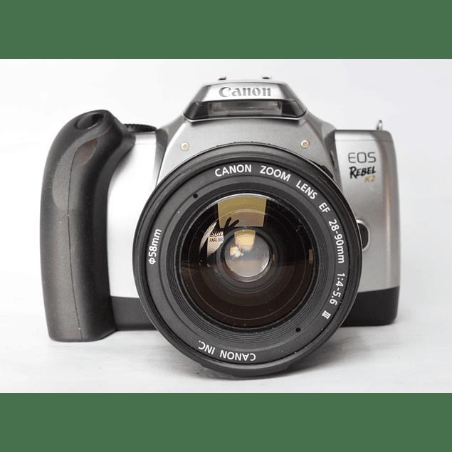 CAMARA FOTOGRÁFICA REFLEX  CANON EOS REBEL K2  ANALÓGICA+ LENTE 28-90mm f4-5.6