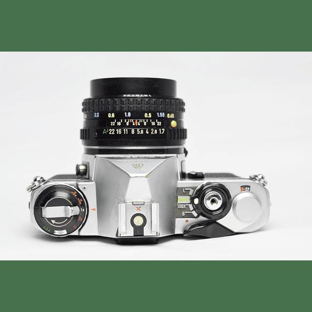 CÁMARA FOTOGRÁFICA REFLEX ANALÓGICA PENTAX ME + LENTE 50mm PENTAX-A f1.7