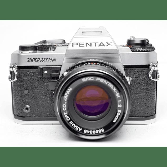 CÁMARA REFLEX ANALÓGICA PENTAX SUPER PROGRAM + LENTE 50mm f2