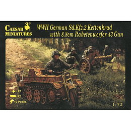 WWII German Sd.Kfz.2 Kettenkrad & Raketenwerfer 43 H096 1:72
