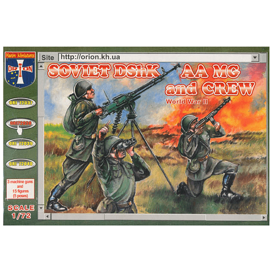 WWII Soviet DShK AA MG and Crew #72038 1:72