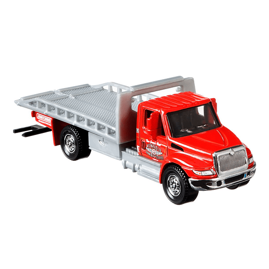 International Durastar 4400 Flatbed Transporter Working Rigs Matchbox 1:64