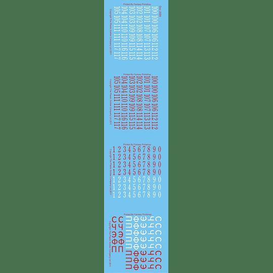 Set de calcas soviéticas: números y letras cirílicas DEC2009