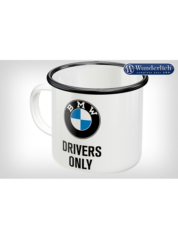 Enamel cup BMW Drivers Only from Nostalgic Art