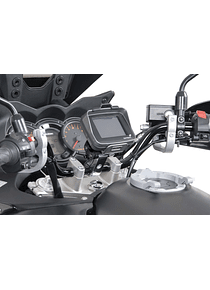GPS mount with handlebar clamp For  28 mm handlebar. Vibration-damped. Silver.