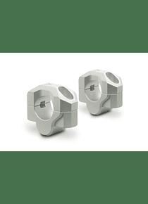 Bar riser for  28 mm handlebar H=20 mm. Silver. Milled.