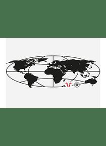 TRAX EVO M/L globe sticker For TRAX EVO side case. Black.