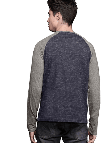 POLO RAGLAN - SWISS LORD - AZUL RG/HEATHER