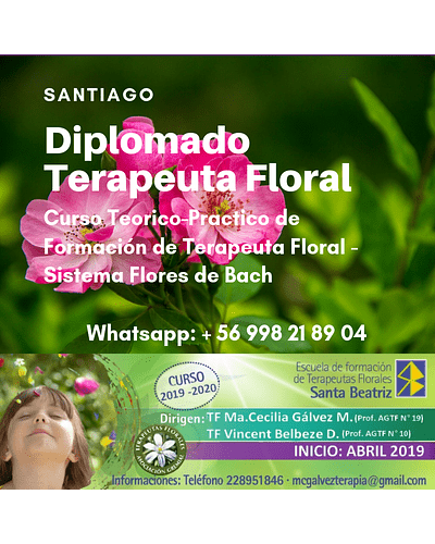 MATRICULA - Diplomado Formación Terapeuta Floral - Sistema Flores de Bach / SANTIAGO 2019