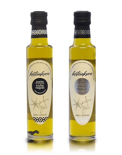 Aceite de Oliva con Aroma a Trufa Negra 250 ml + Aceite de oliva con Aroma Trufa Blanca 250 ml