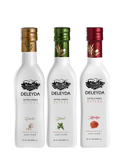 3 Aceite de Oliva Especiados: Ajo, Albahaca, Merkén
