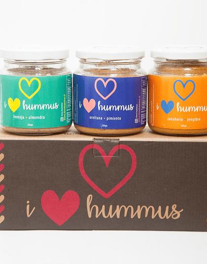 Pack Hummus Lenteja - Almendra, Aceituna - Pimiento y Zanahoria - Jengibre