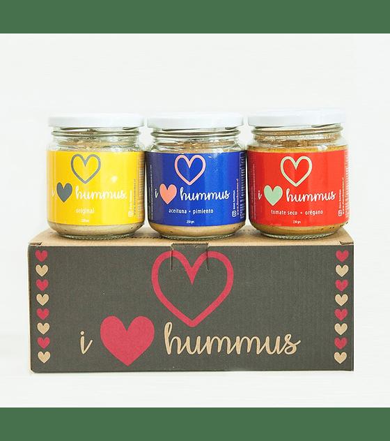 Pack Hummus Original, Aceituna - Pimiento y Tomate Seco - Orégano