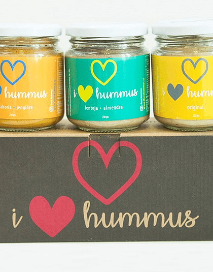 Pack Hummus Zanahoria - Jengibre, Lenteja - Almendra y Original
