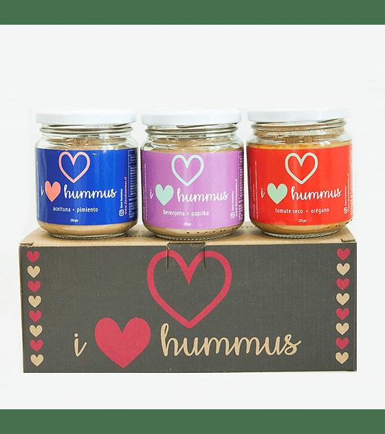 Pack Hummus Aceituna - Pimiento, Berenjena - Paprika, Tomate Seco - Orégano