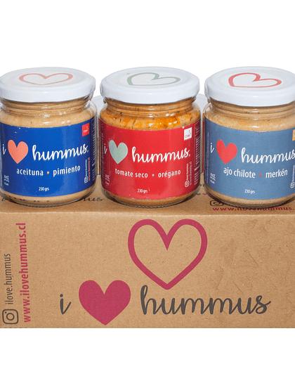 Pack Hummus Aceituna - Pimiento, Tomate Seco - Orégano y Ajo Chilote - Merkén
