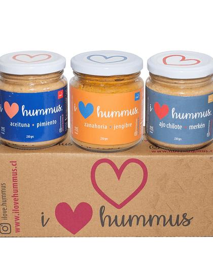 Pack Hummus Aceituna - Pimiento, Zanahoria - Jengibre y Ajo Chilote - Merkén