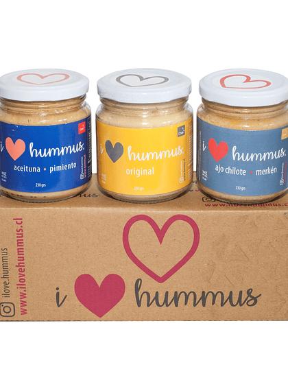 Pack Hummus Aceituna - Pimiento, Original y Ajo Chilote - Merkén