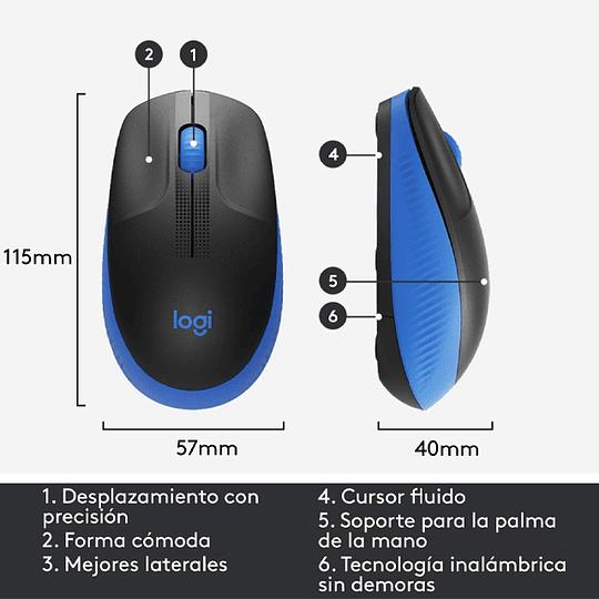 Mouse Inalámbrico Logitech M190 Full Size Azul