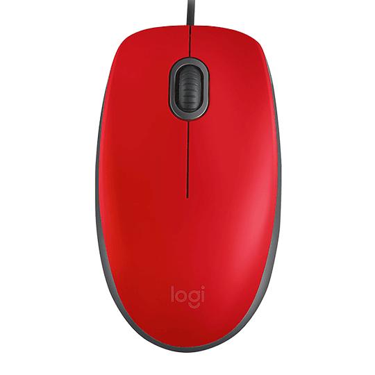 Mouse Alambrico Usb Logitech M110 Rojo Silencioso