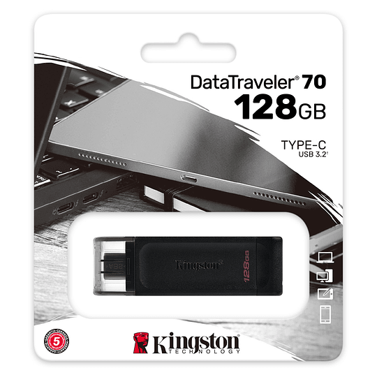 Pendrive Usb Tipo C Usb 3.2 Kingston Dt70 128gb Mac Android