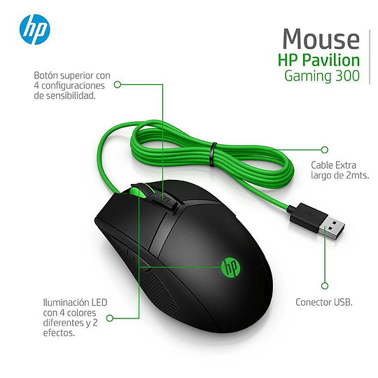 Mouse Gamer Hp Pavilion 300 5000dpi Led