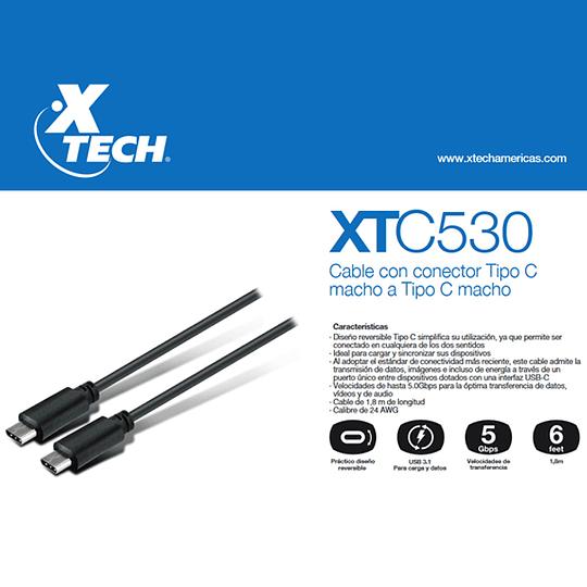 Cable Usb Tipo C  Macho a Macho Xtech XTC-530