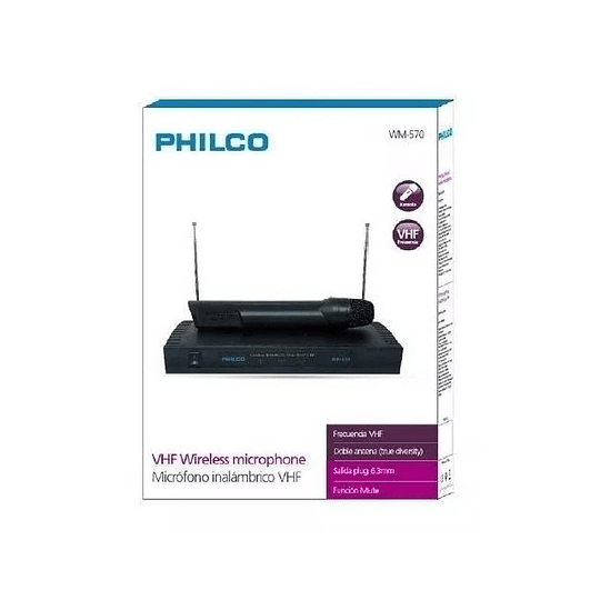 Set Karaoke 2 Micrófonos Inalambricos Vhf Philco Wm-570 30mt